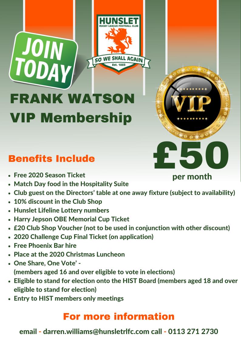 Frank Watson - VIP membership